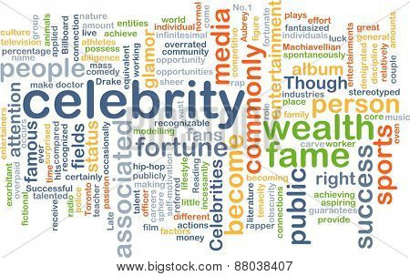 Background text pattern concept wordcloud illustration of celebrity