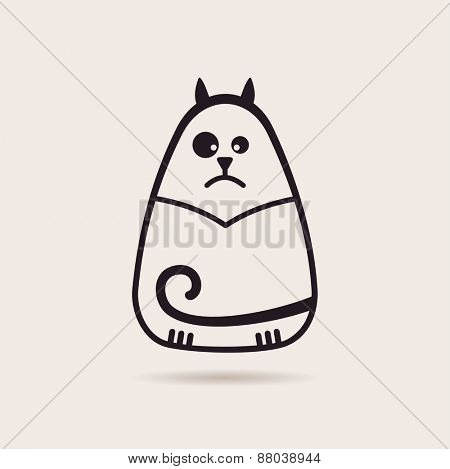symbol funny cat. Stylized drawing silhouette illustration