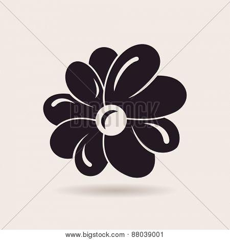 Flower logo. raster sign emblem isolated