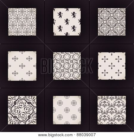 wallpapers set. Seamless vintage backgrounds. Calligraphic ornament pattern texture
