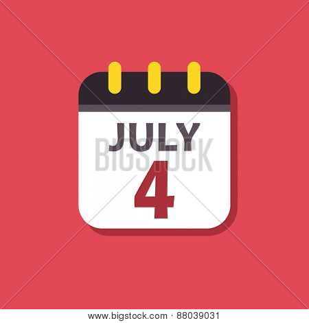 Calendar icon. Signs for smartphones and tablets, web design, websites, app. Holiday. Independence Day