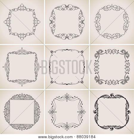 Calligraphic frames set and page decoration ornament. vintage illustration elegant
