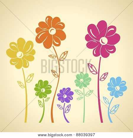 Colourful flowers pattern. raster background. Green yellow blue red set
