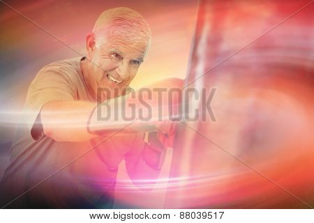 Portrait of a determined senior boxer against desert landscape