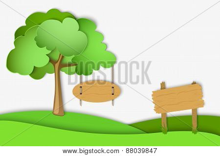 green landscape of paper on white background