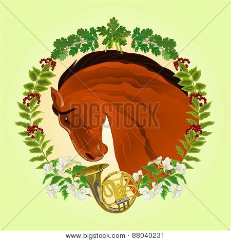 The Head  Brown Horse Hunting Theme Vector