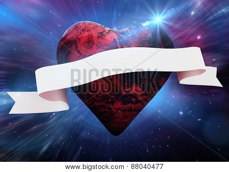Red earth heart with scroll against outer space