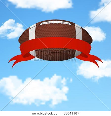 Football Flying In The Sky. Vector Background.