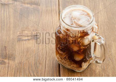 Iced Coffee In Vintage Jar