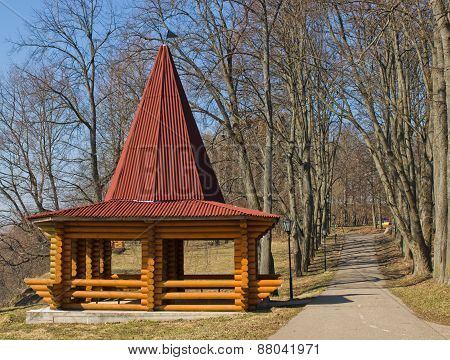 Beautiful wooden gazebo in the park