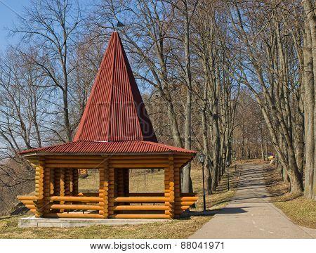 Beautiful wooden gazebo in the park
