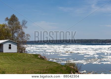 Spring Ice Thaw With Copy Space
