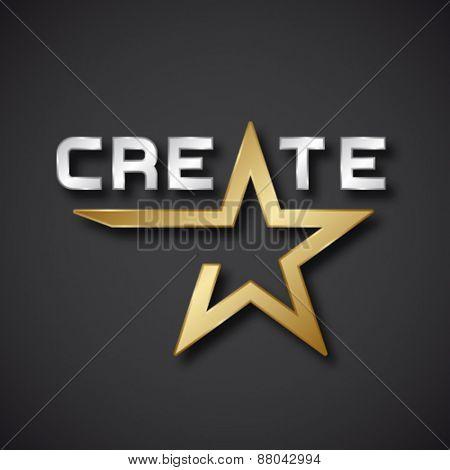 vector create golden star inscription icon