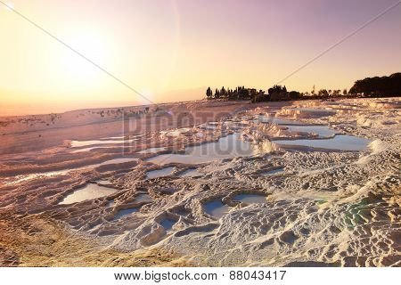 Sunset Travertine Pools And Terraces, Pamukkale, Turkey