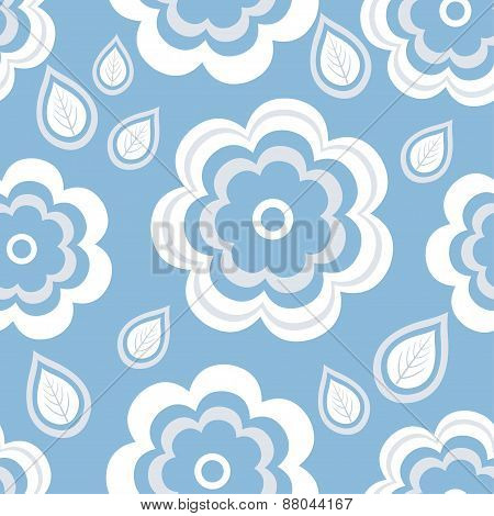 Seamless Pattern Blue With Flowers And Leaves