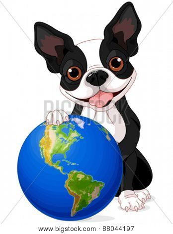 Boston Terrier holds the Earth at Earth Day