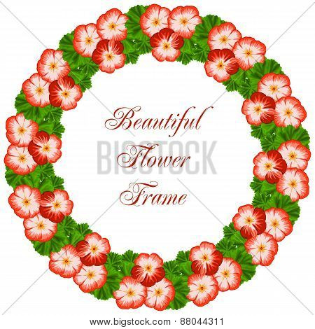 Vintage Flower Frame With Geranium