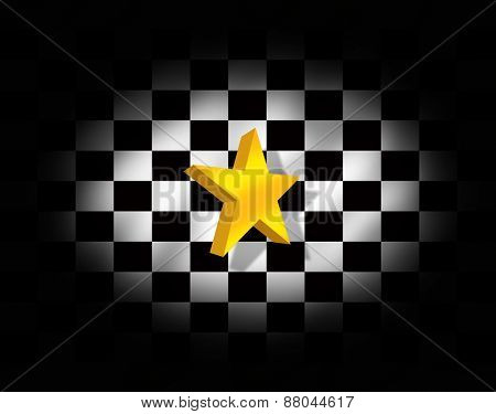 Star and checkered flag illustration