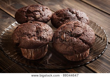 Chocolate Cake Muffins On A Table