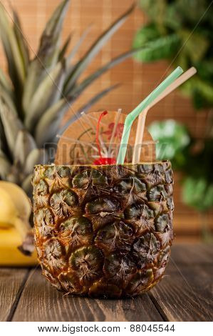 Pina Colada Over Wooden Background