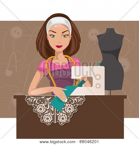 Dressmaker Woman. Vector Illustration