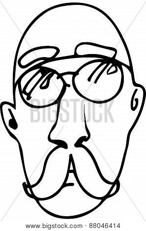 Sketch Of A Bald Man With A Mustache Wearing Glassesve