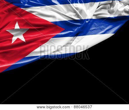Cuban waving flag on black background