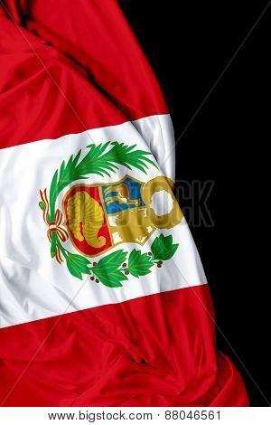 Peruvian waving flag on black background