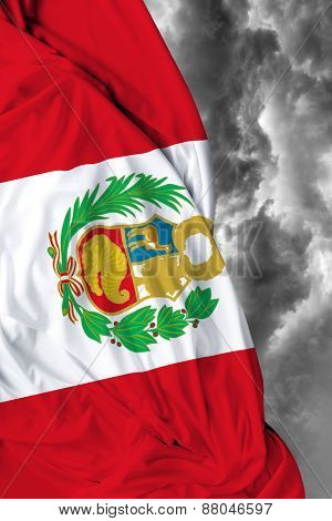 Peruvian waving flag on a bad day