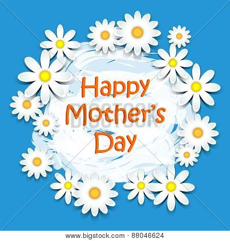 Mothers Day Daisies On Blue Card