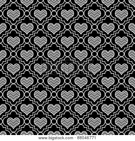 Black And White Chevron Hearts Tile Pattern Repeat Background