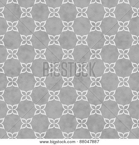 Gray And White Flower Symbol Tile Pattern Repeat Background