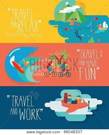 Set of traveling vector illustrations. Different types of travel.