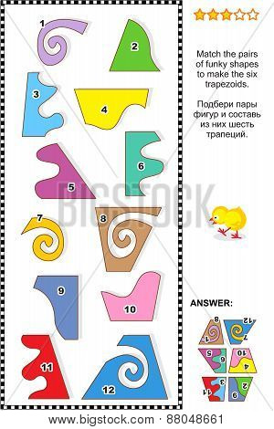 Math puzzle - match the shapes to make trapezoids