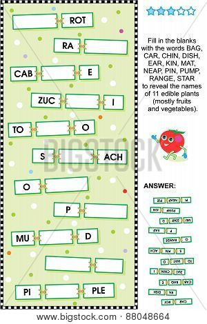 Fruits and vegetables word game