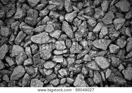black-white background of  gravel