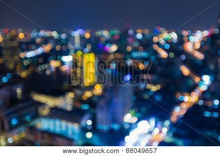 Blured lights from roof top Bangkok city view, Thailand