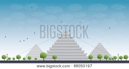 Pyramids in Giza Vector illustration in flat style