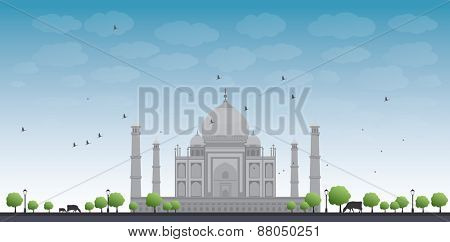 Taj Mahal with Tree and cow. Front view Vector illustration