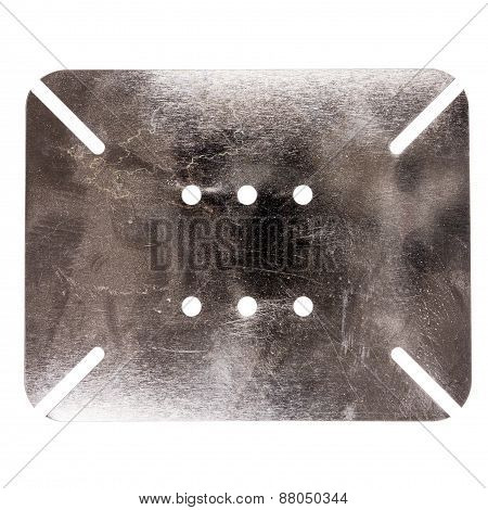 Scratched Dirty Metal Plate With Holes