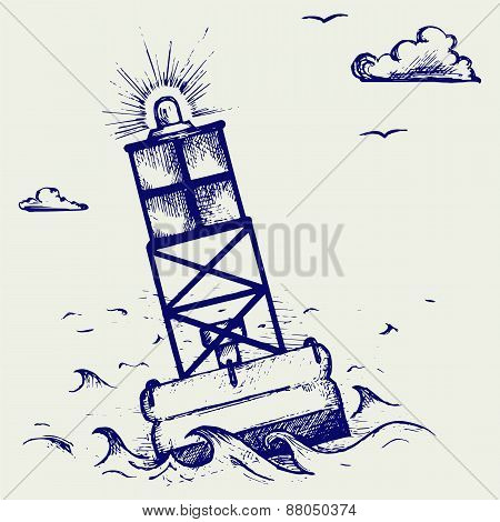 A warning buoy off the coast