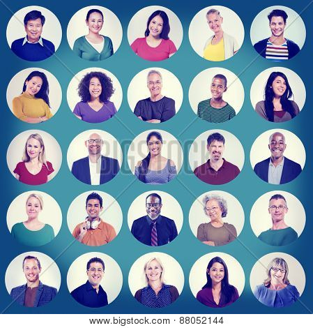 People Faces Portrait Multiethnic Cheerful Group Concept