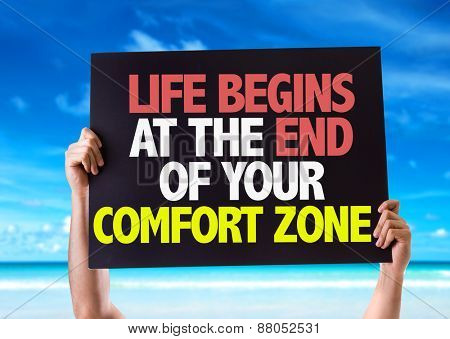 Life Begins at the End of Your Comfort Zone card with beach background