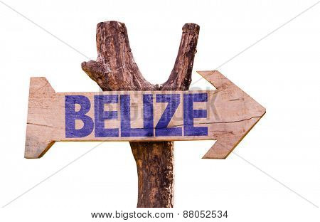 Belize wooden sign isolated on white background