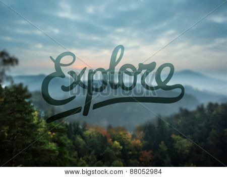 Digitally generated Explore against forest scene vector