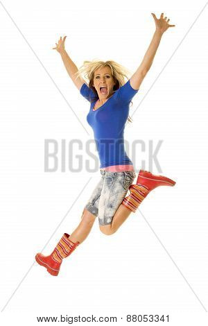 Woman Jump Excited In Rain Boots