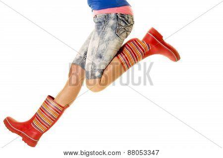 Woman Jump Legs Rain Boots