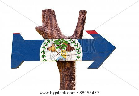 Belize Flag wooden sign isolated on white background
