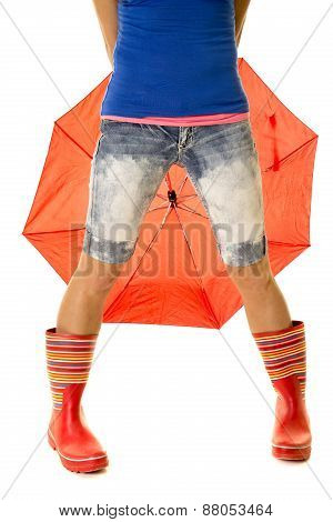 Woman Legs In Rain Boots In Front Of Umbrella