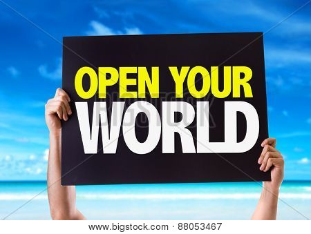 Open Your World card with beach background